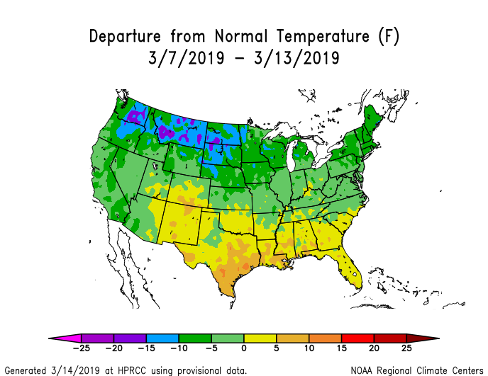 Temperature anomalies (departure from normal) for the CONUS for March 7-13, 2019