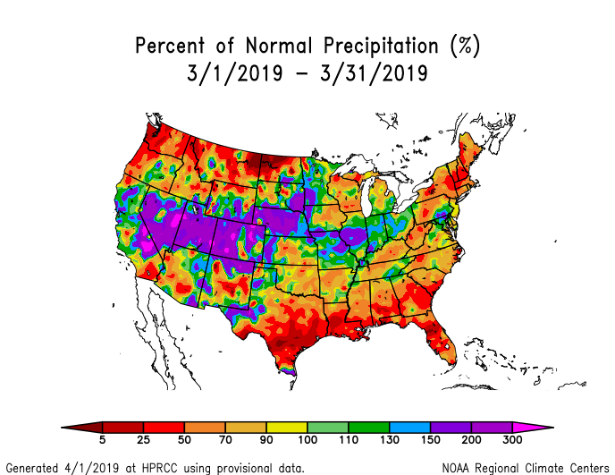 Precipitation anomalies (percent of normal) for the CONUS for March 2019