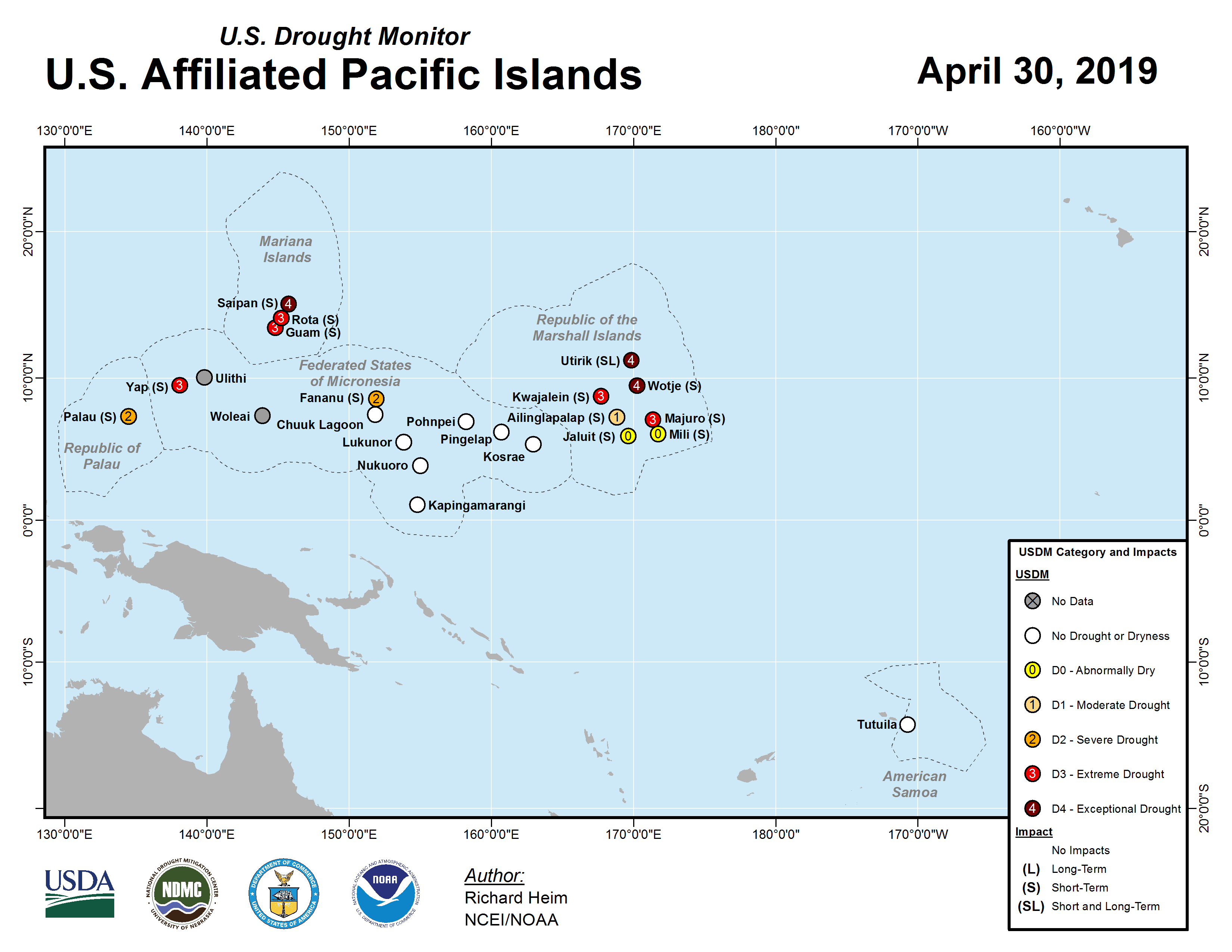 Map showing drought in the U.S.-Affiliated Pacific Islands