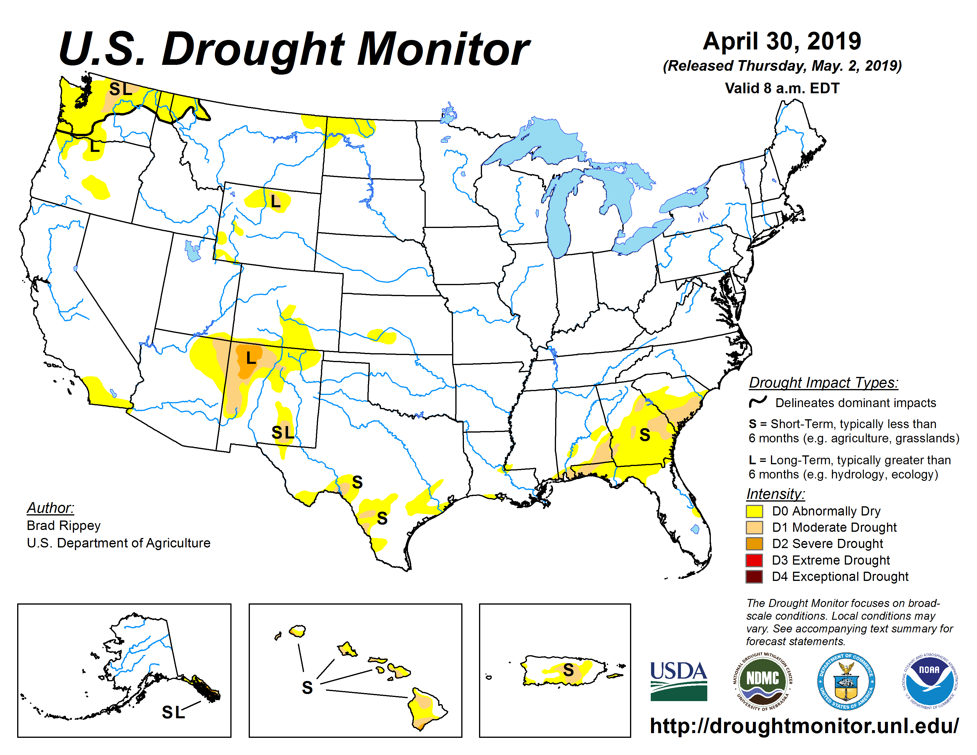 The U.S. Drought Monitor drought map valid April 30, 2019