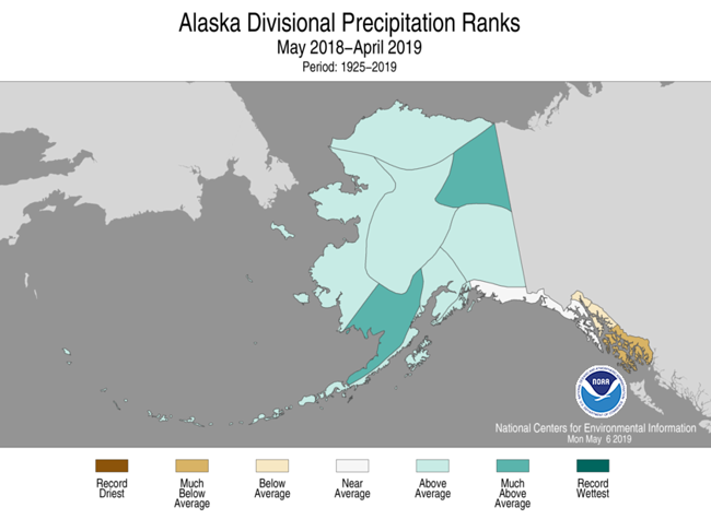 Alaska climate division precipitation rank map, May 2018-April 2019