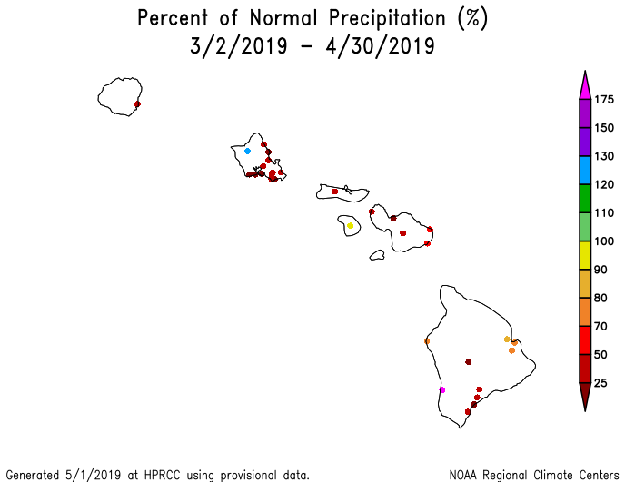 Hawaii percent of normal precipitation map, March-April 2019