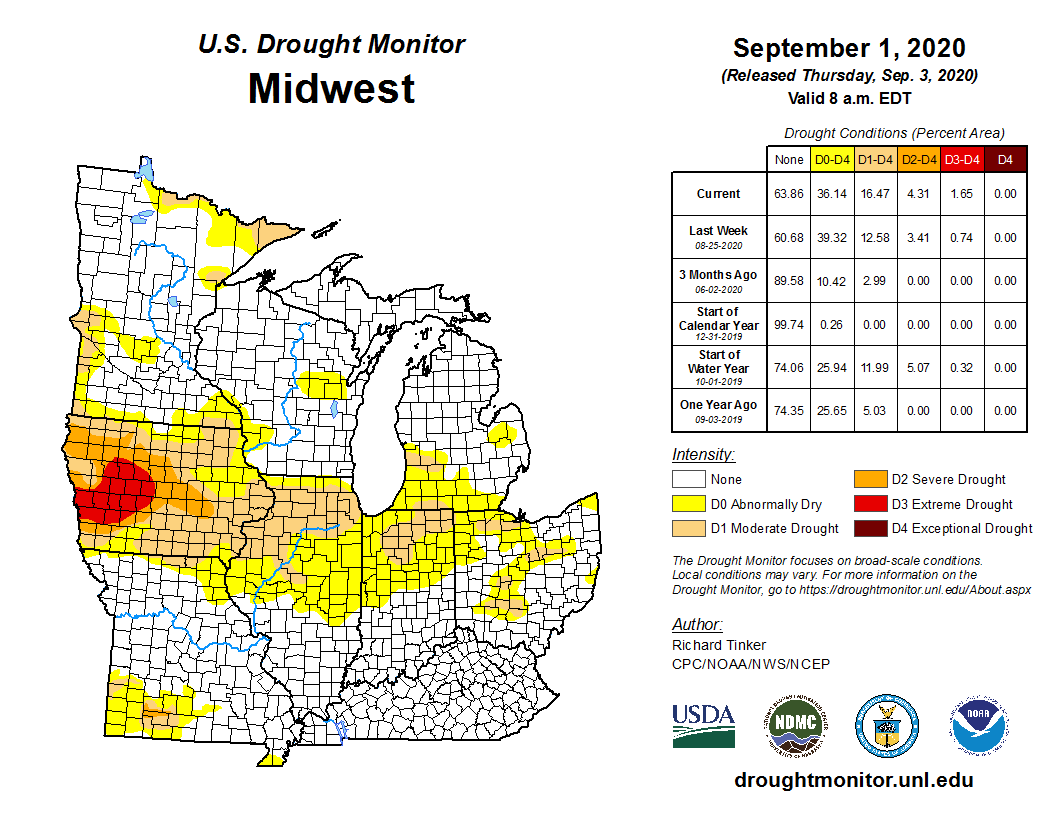 USDM map for Midwest for September 1, 2020