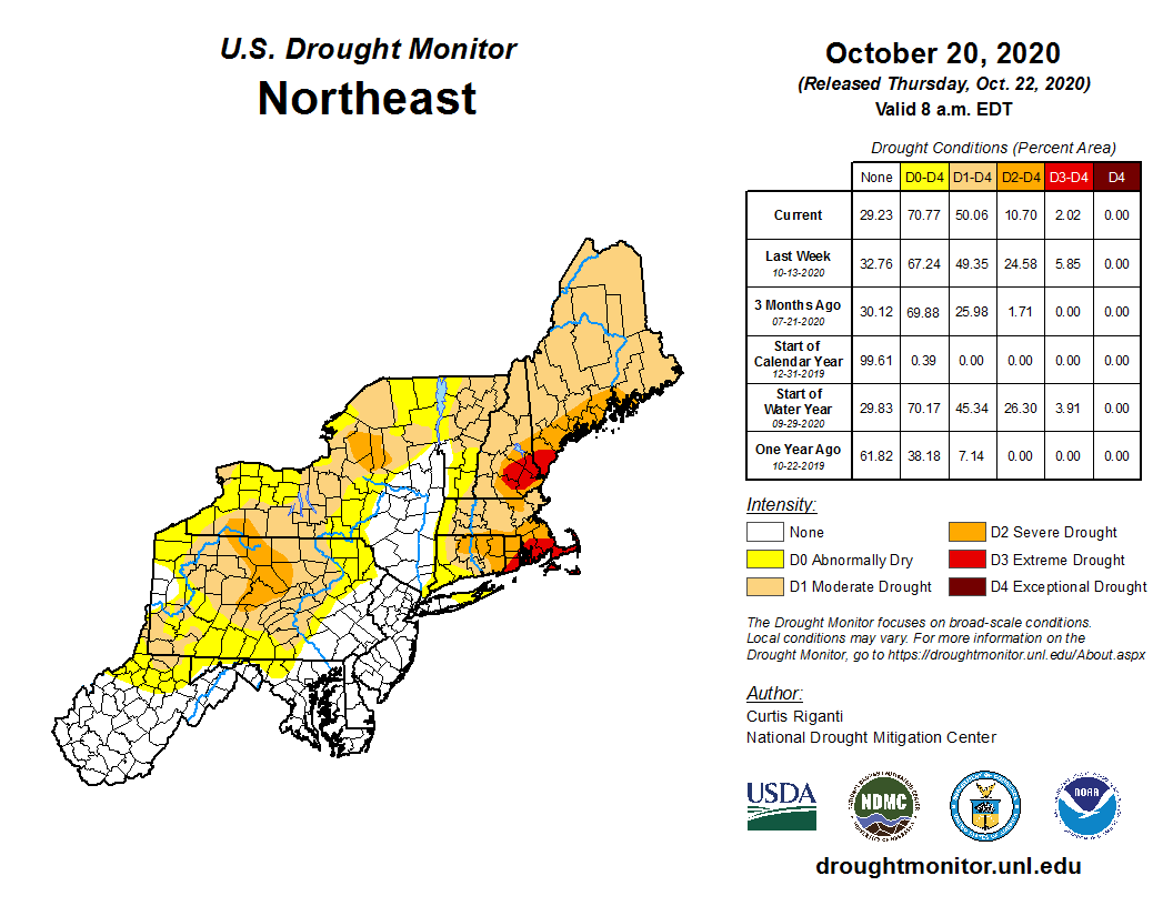 USDM map for Northeast as of October 20, 2020