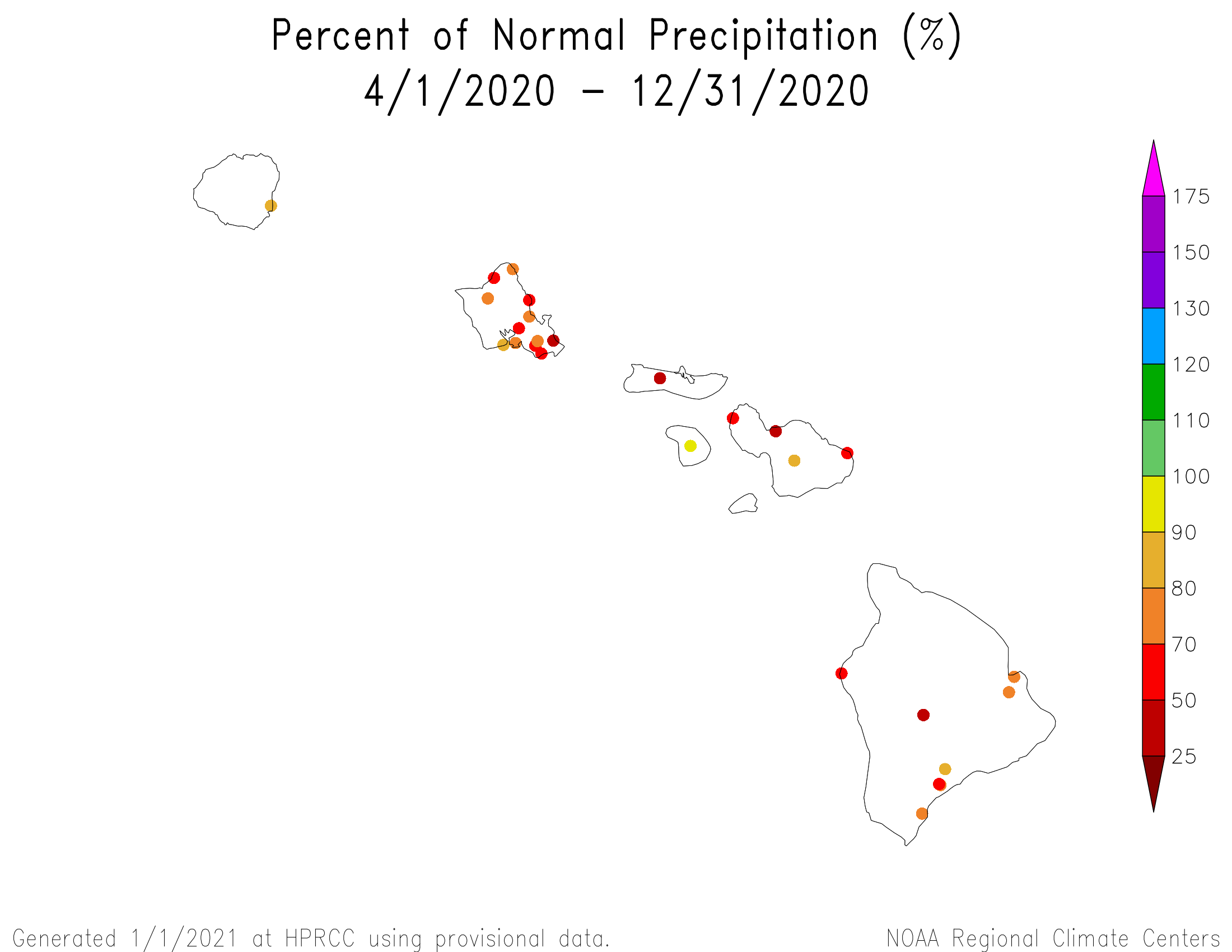 Map of station precipitation anomalies for Hawaii, July-December, 2020