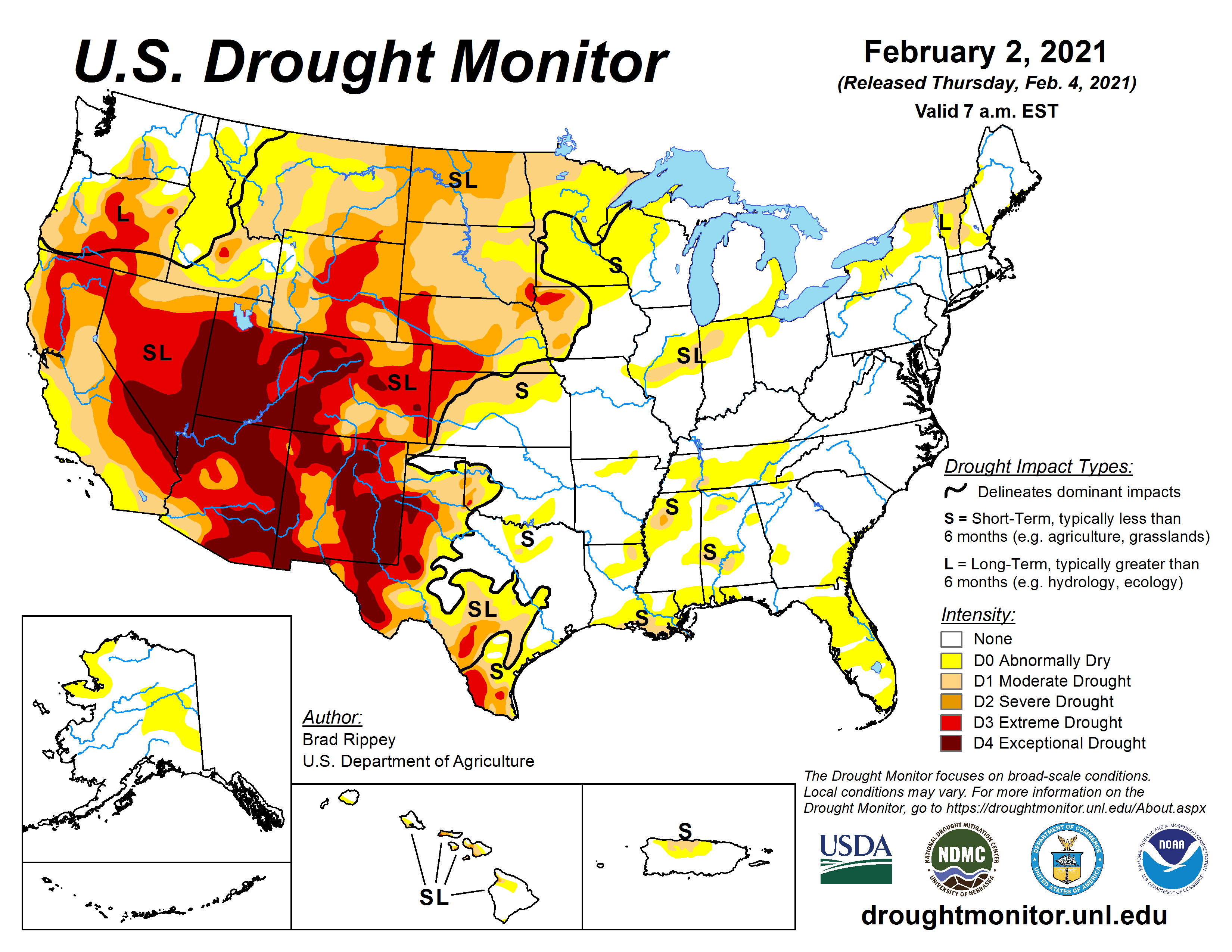 U.S. Drought Monitor, valid February 2, 2021
