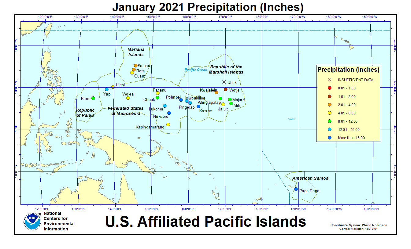 Map of U.S. Affiliated Pacific Islands January 2021 Precipitation (Inches)