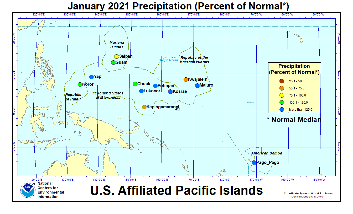 Map of U.S. Affiliated Pacific Islands January 2021 Percent of Normal Precipitation