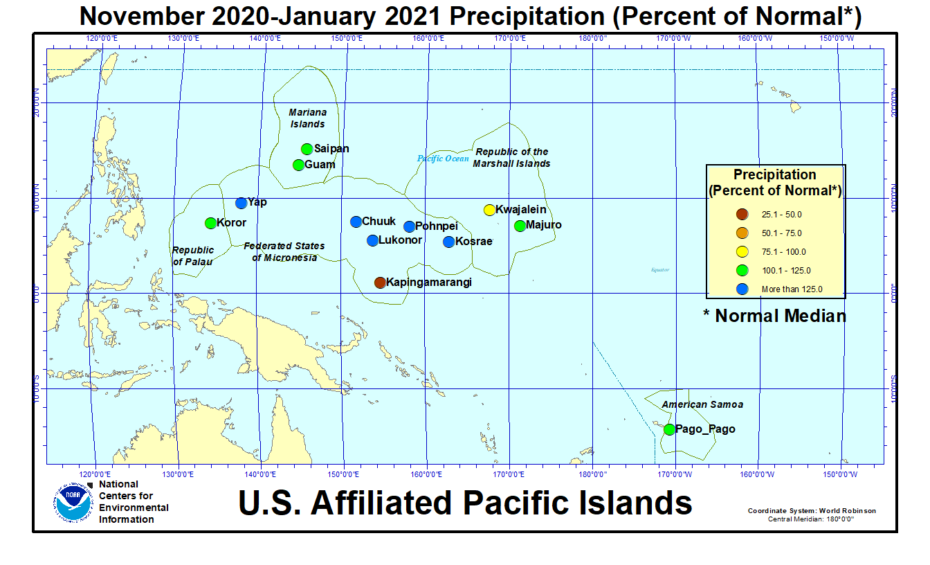 Map of U.S. Affiliated Pacific Islands November-January 2021 Percent of Normal Precipitation