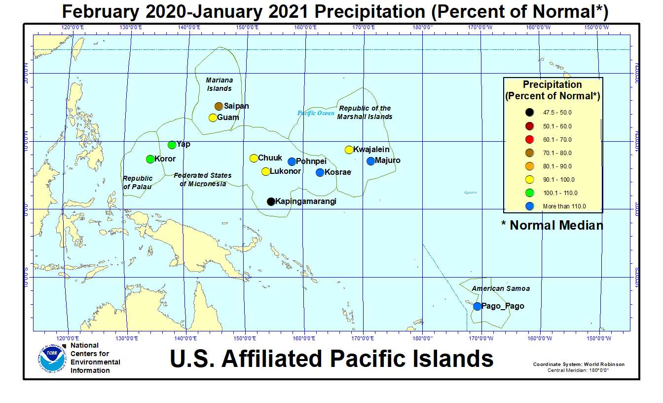 Map of U.S. Affiliated Pacific Islands February 2020-January 2021 Percent of Normal Precipitation