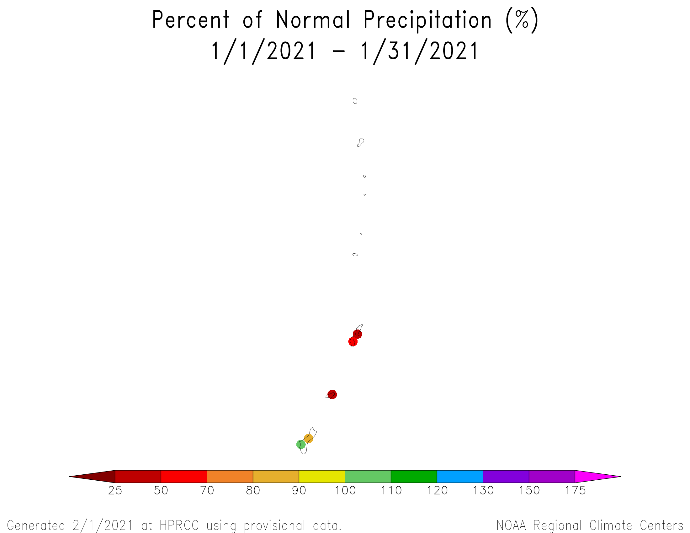 1-month Percent of Normal Precipitation for the Marianas
