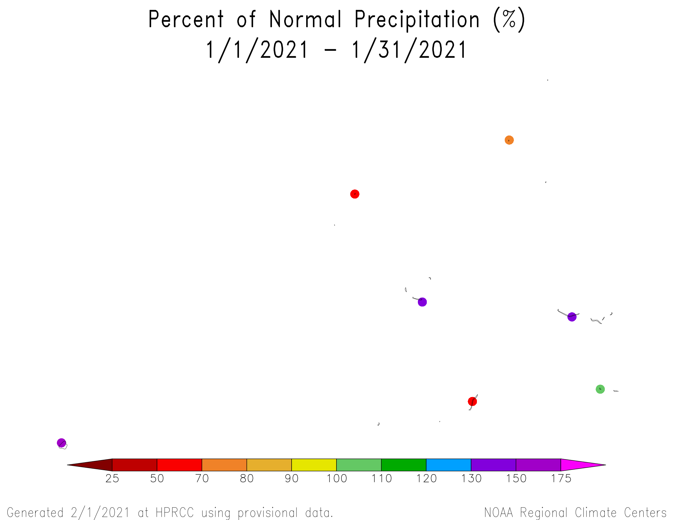 1-month Percent of Normal Precipitation for the Marshalls