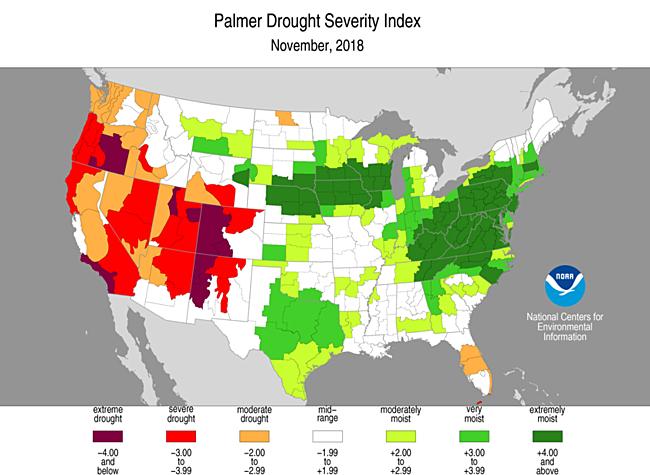 November 2018 Palmer Drought Severity Index
