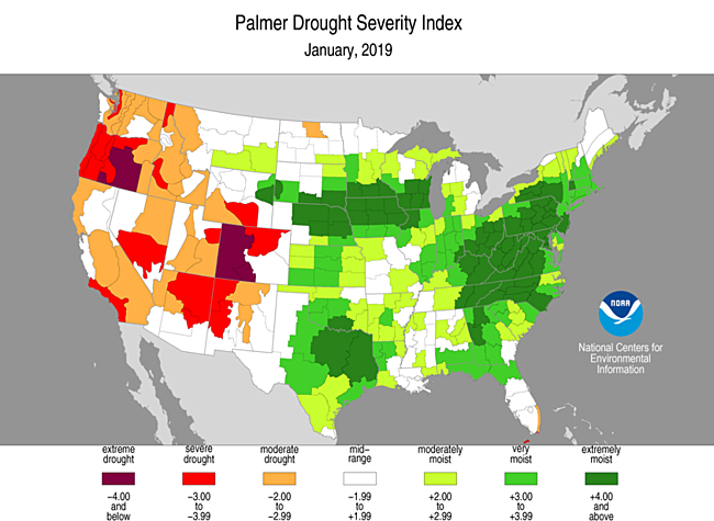 Historical Palmer Drought Indices | Temperature, Precipitation, and