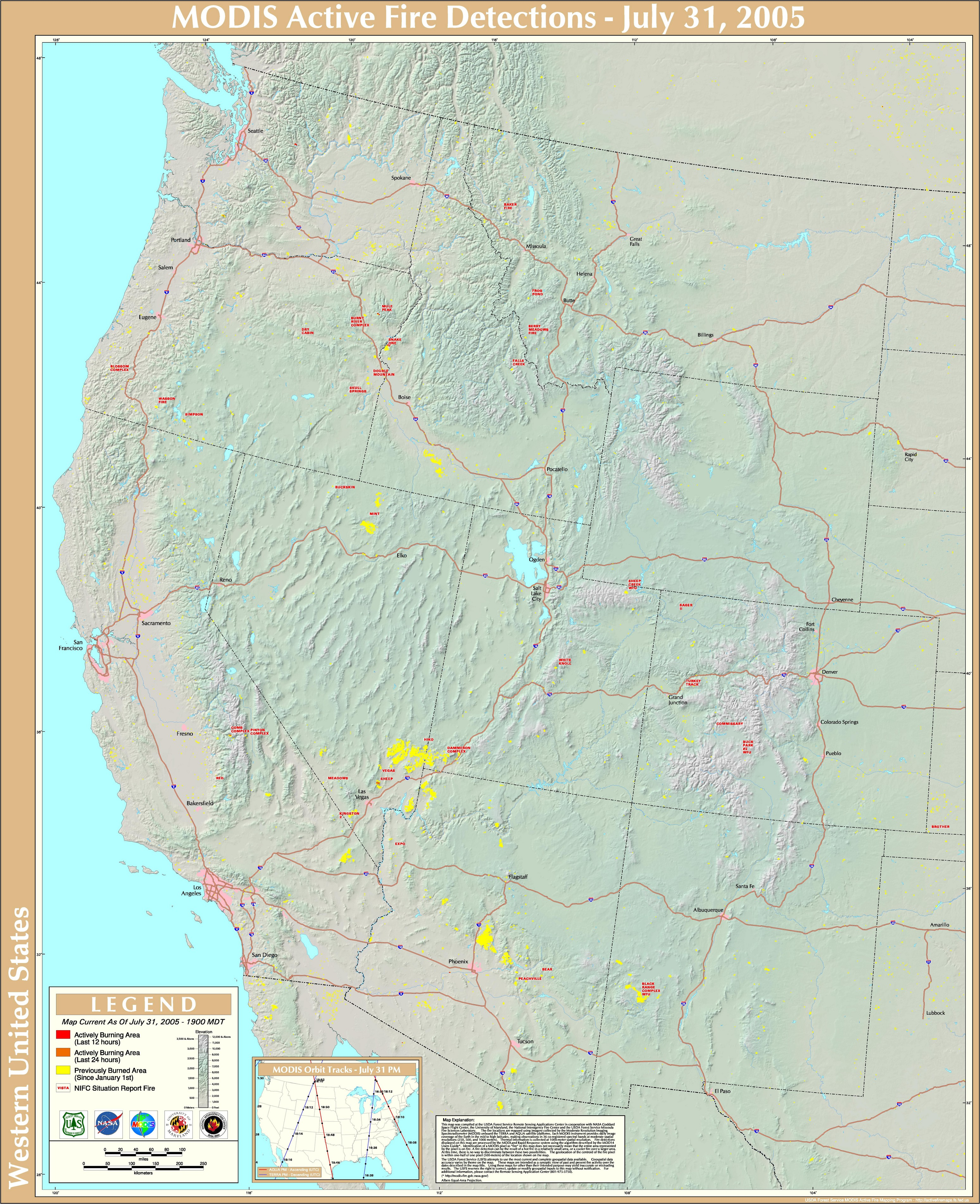 Wildfires July 2005 State Of The Climate National Centers For - Us-wildfire-activity-map