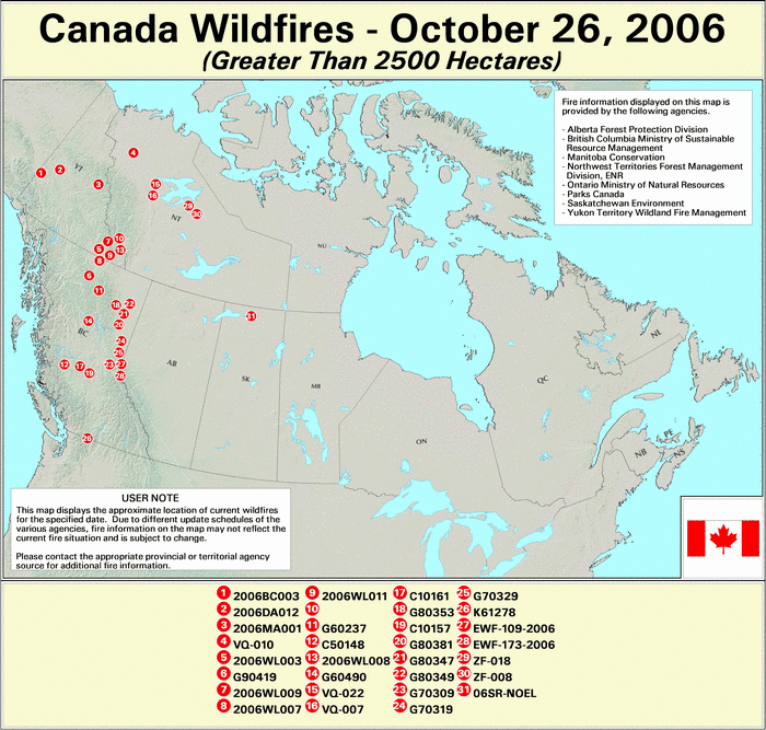Canadian Large Fires - 26 October 2006