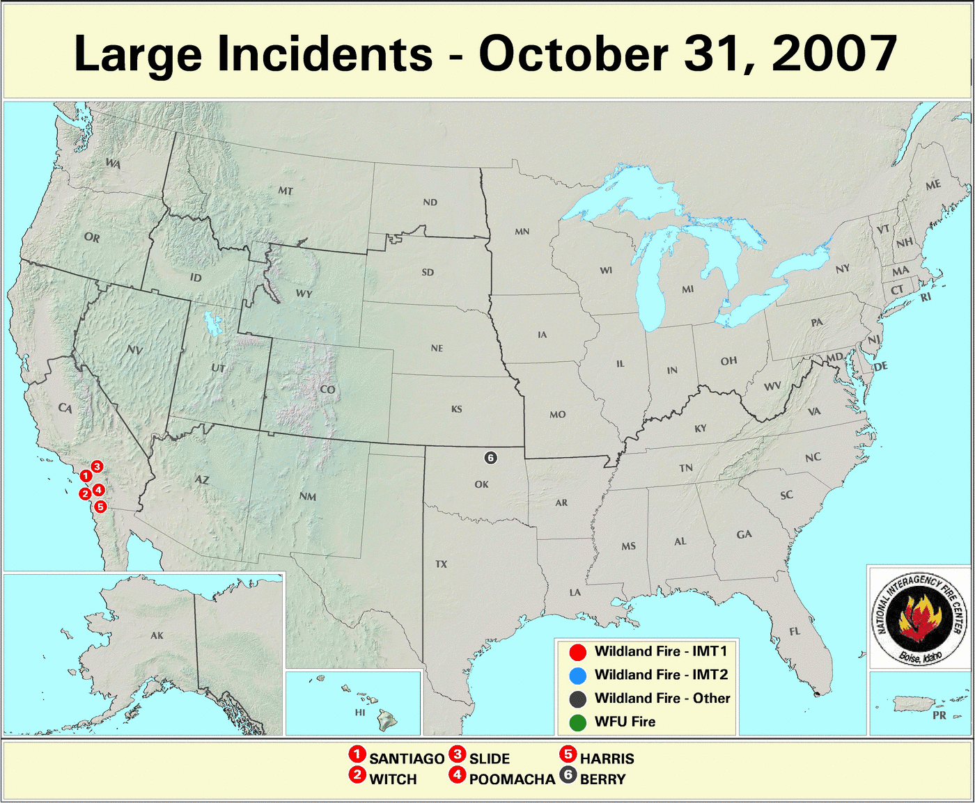 Large Incident Fire Map.Wildfires October 2007 State Of The Climate National Centers