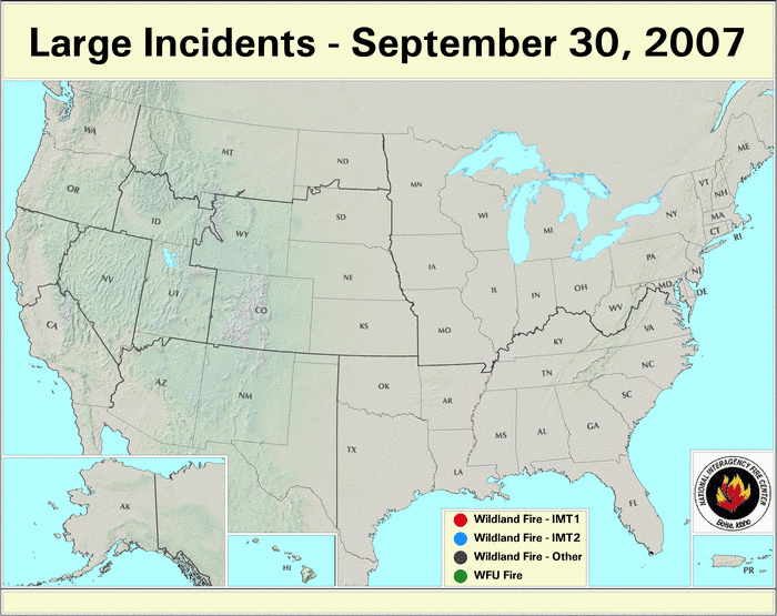 Wildfires September 2007 State Of The Climate National Centers - Us-wildfire-activity-map