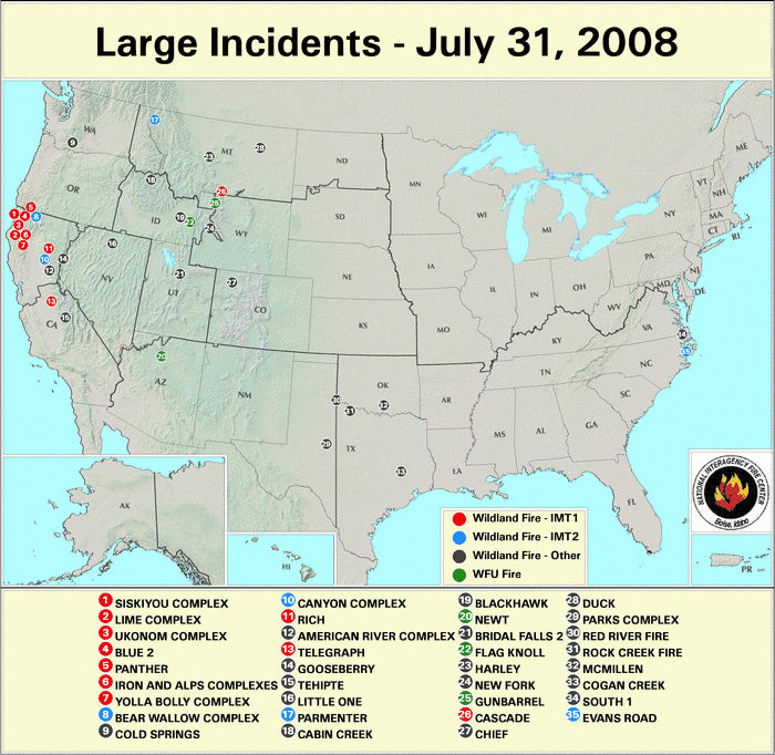 Wildfires - July 2008 | State of the Climate | National ... on sabine parish fire map, canada cell phone tower map, pine barrens fire map, honolulu fire map, san diego fire map, austin fire map,