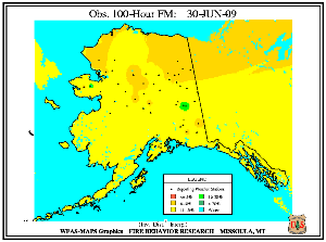 Alaska 100-hr Fuel Moisture Map for July  1