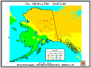 Alaska 100-hr Fuel Moisture Map for July  14