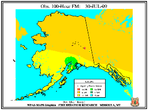 Alaska 100-hr Fuel Moisture Map for July  31