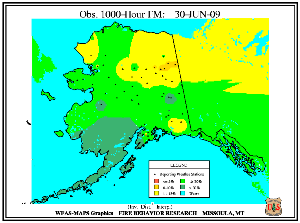Alaska 1000-hr Fuel Moisture Map for July  1