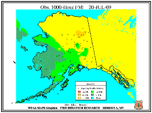 Alaska 1000-hr Fuel Moisture Map for July  14
