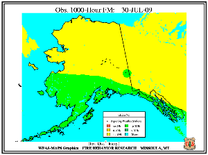 Alaska 1000-hr Fuel Moisture Map for July  31