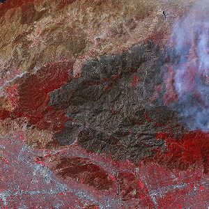 NASA Satellite Image of burned area in Los Angeles County on 9 September 2009