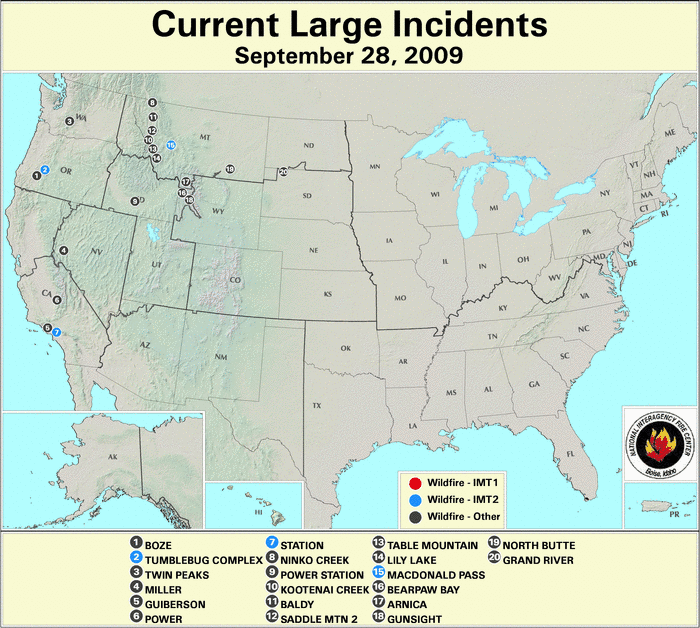 Grand Lake Fire Map.Wildfires September 2009 State Of The Climate National Centers