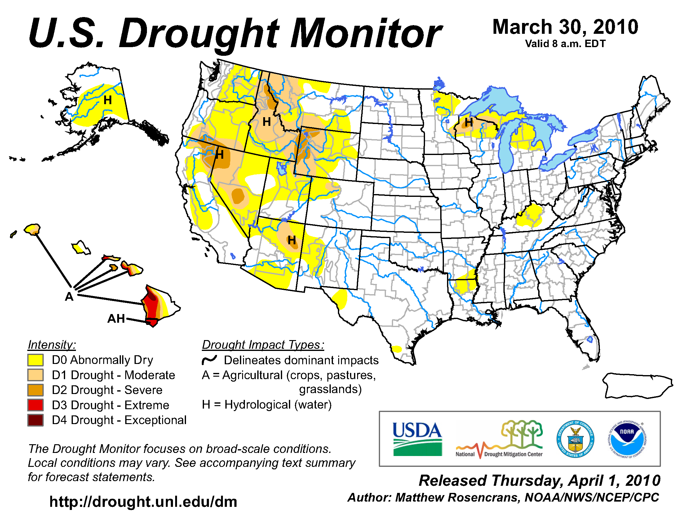 U.S. Drought Monitor map from 30 March 2010