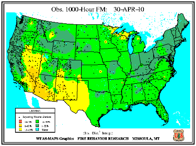 1000-hr Fuel Moisture Map for April 30