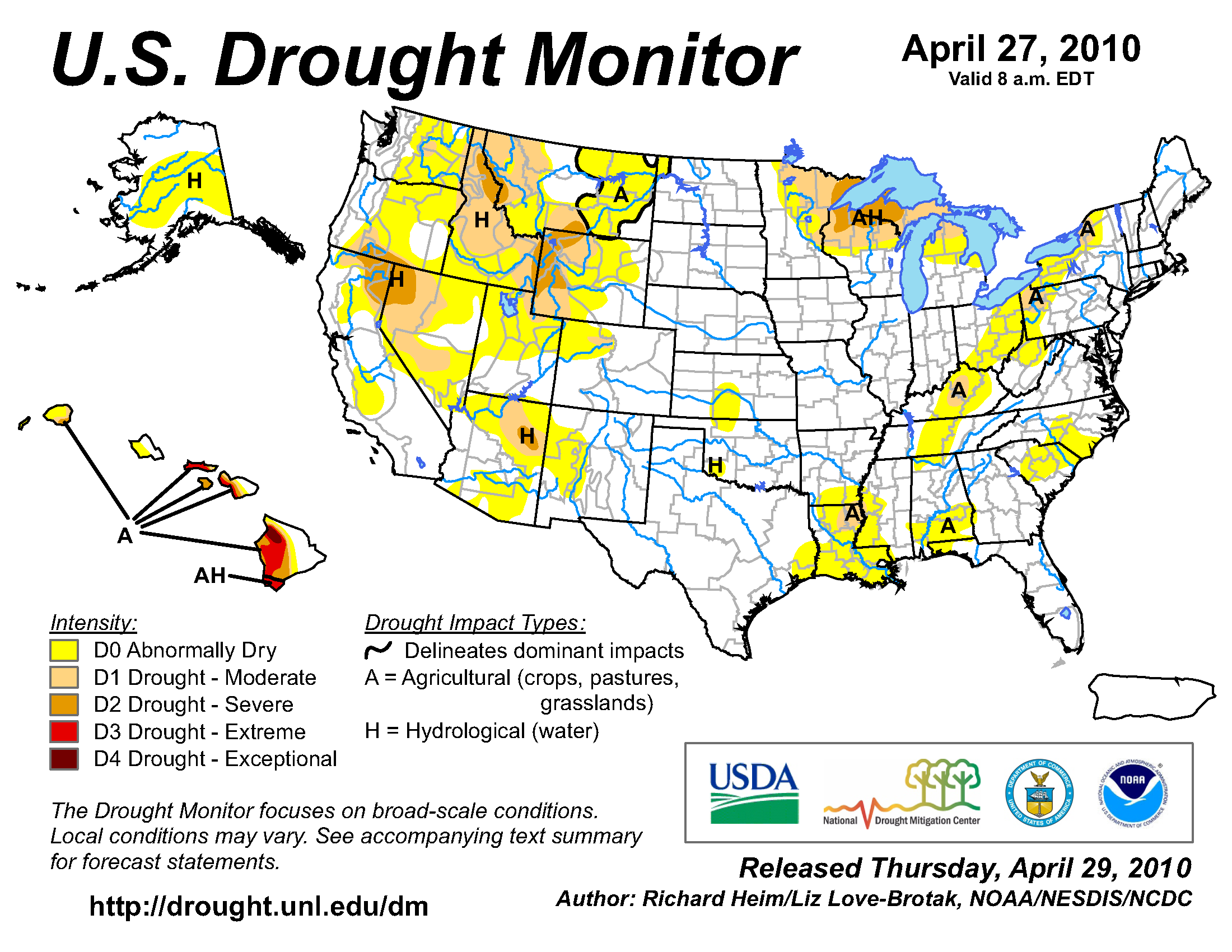 U.S. Drought Monitor map from 27 April 2010