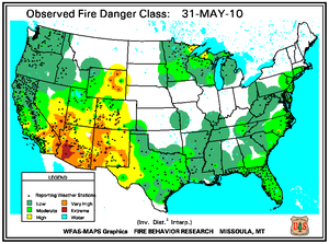 Fire Danger map from 31 May 2010