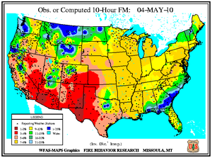 10-hr Fuel Moisture Map for May 1