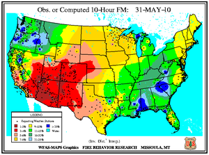 10-hr Fuel Moisture Map for May 31