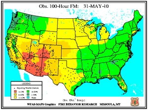 100-hr Dead Fuel Moisture Map on 31 May 2010