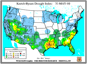 Keetch-Byram Drought Index on 31 May 2010