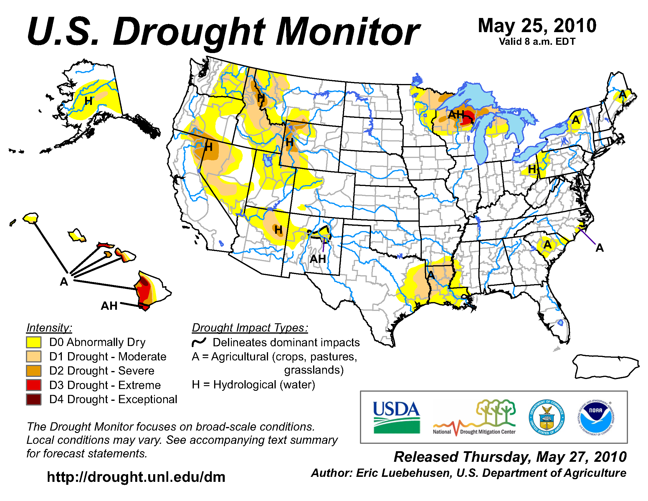 U.S. Drought Monitor map from 25 May 2010