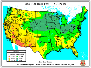 100-hr Fuel Moisture Map for June 15