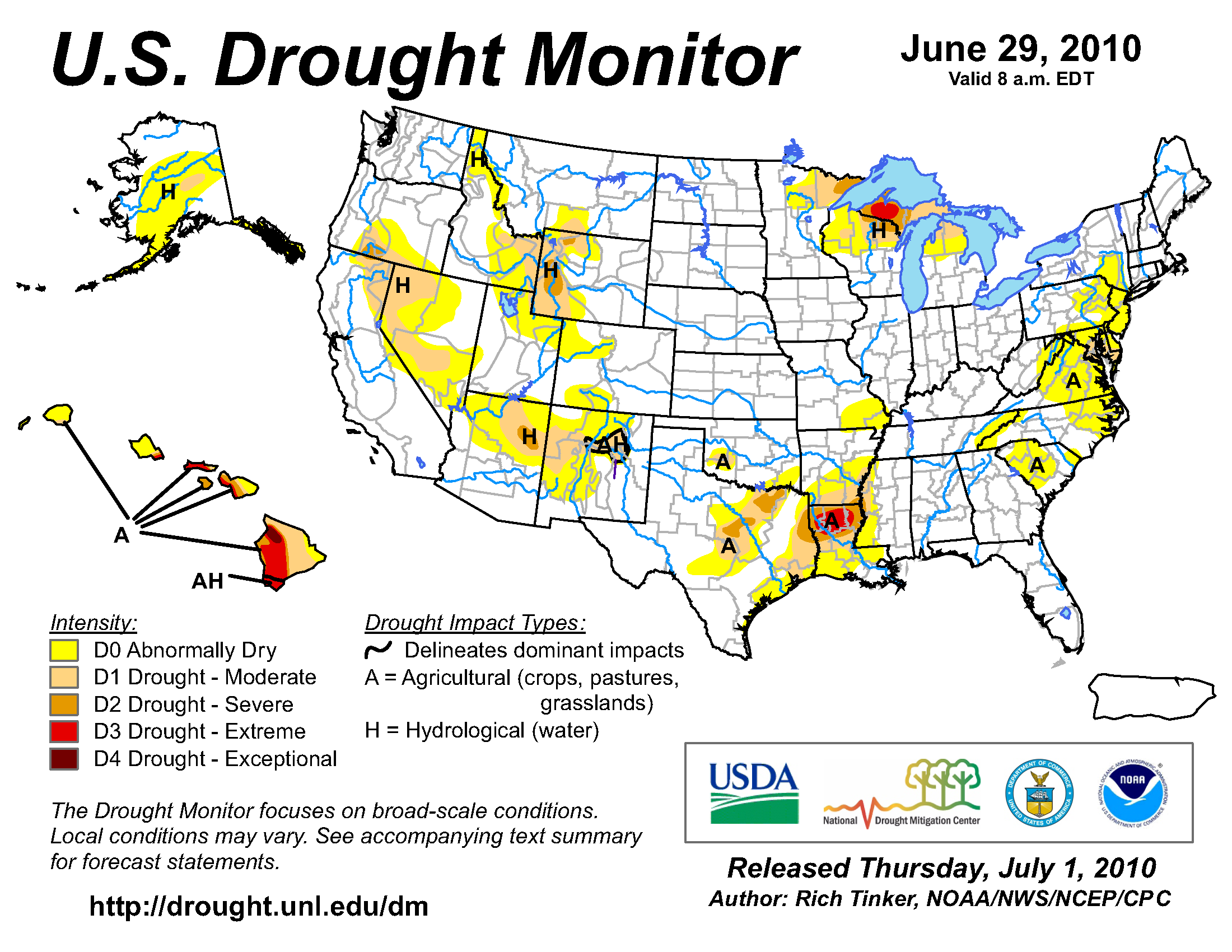 U.S. Drought Monitor map from 29 June 2010