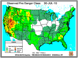 Fire Danger map from 31 July 2010