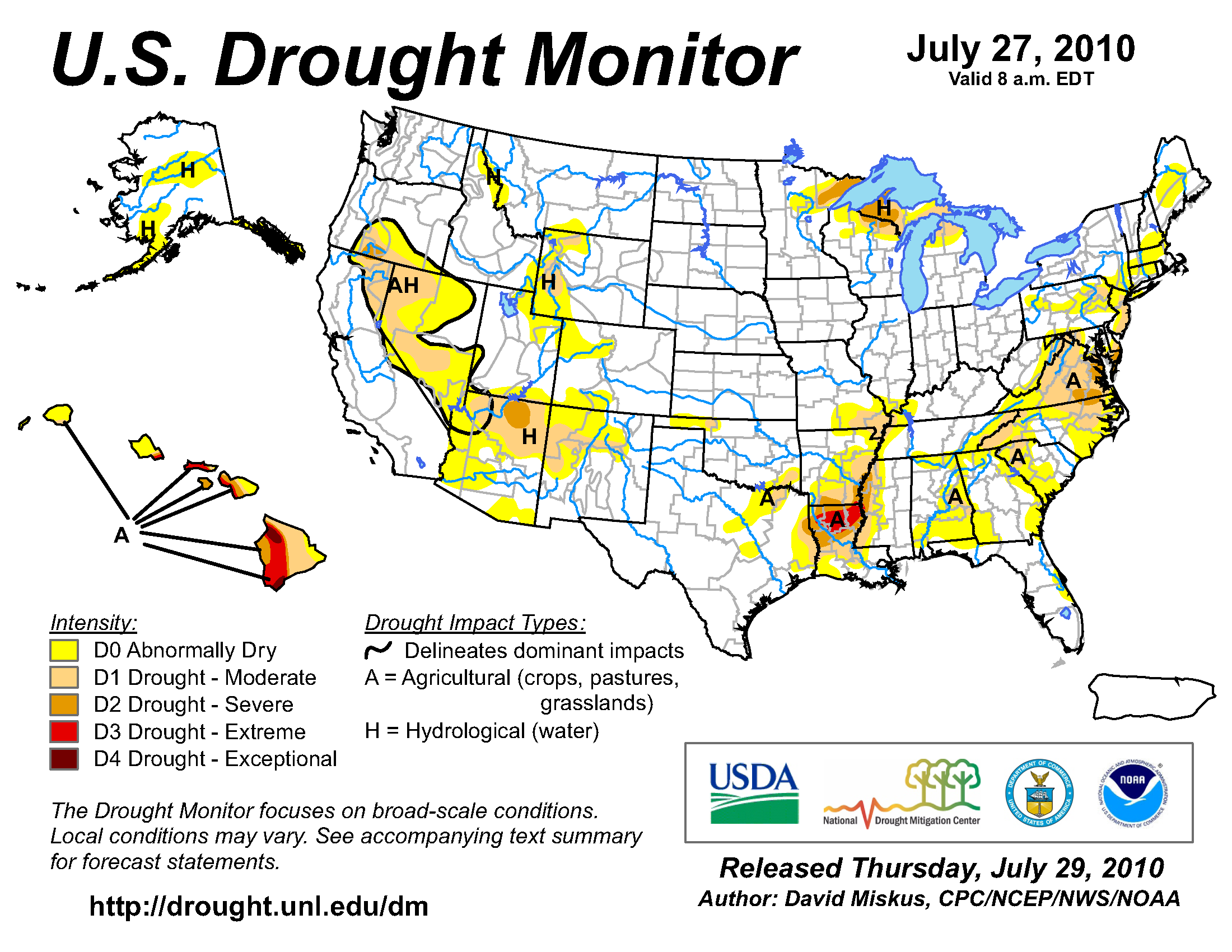 U.S. Drought Monitor map from 27 july 2010