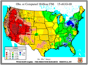 10-hr Fuel Moisture Map for August 15