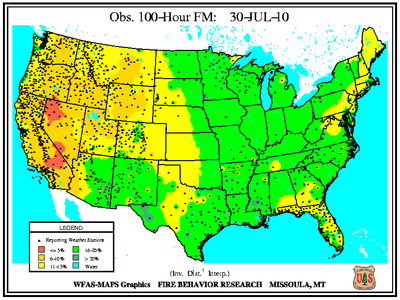 100-hr Fuel Moisture Map for August 1