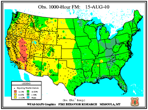 1000-hr Fuel Moisture Map for August 15