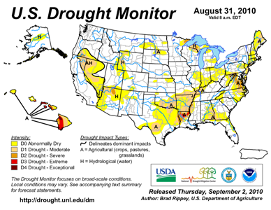 U.S. Drought Monitor map from 31 August 2010
