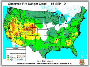 Fire Danger Map for September 15