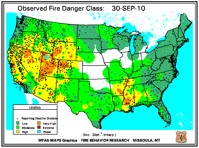 fire danger map from 30 september 2010 according to the u s forest